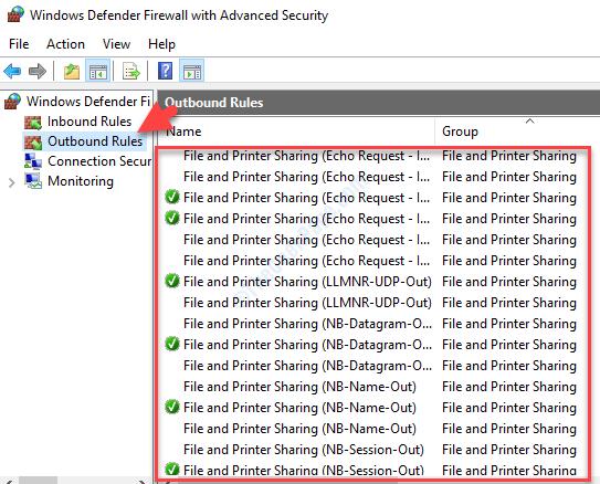 Windows Defender Firewall con regole di sicurezza avanzate in uscita Gruppo di condivisione file e stampanti D Verificare la presenza di elementi bloccati