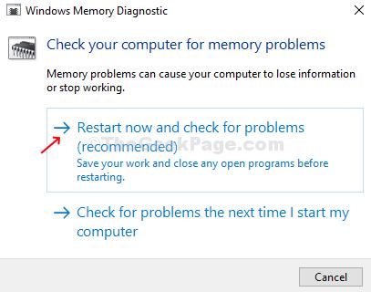 Riavvia subito la diagnostica della memoria di Windows e verifica la presenza di problemi