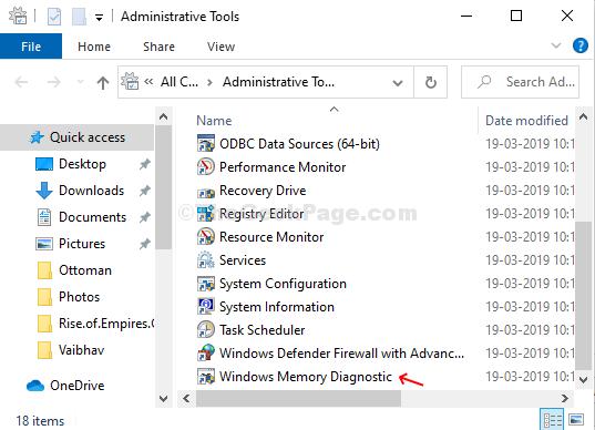 Strumenti di amministrazione Diagnostica della memoria di Windows