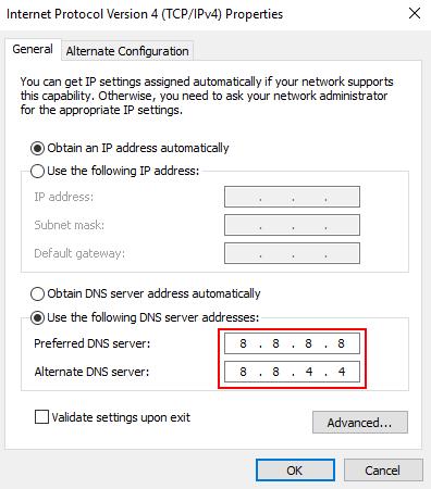 Indirizzo DNS di Google