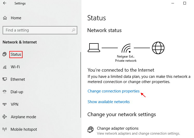 Modificare le proprietà di connessione Windows 10 Min