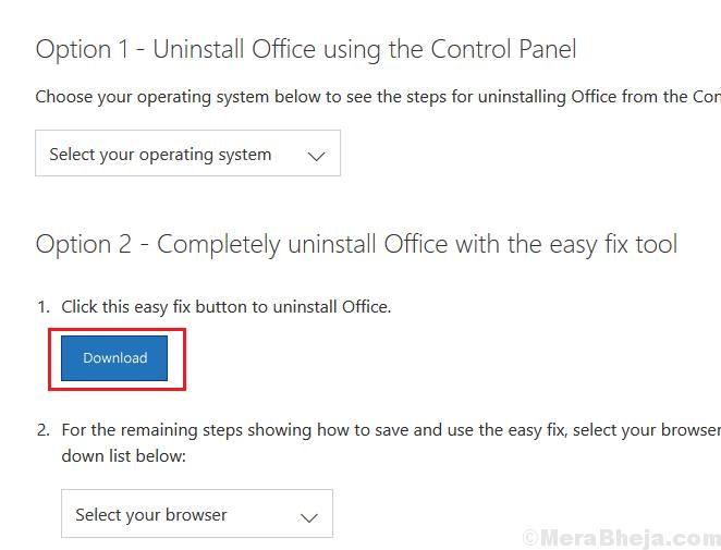 Disinstalla Microsoft Office