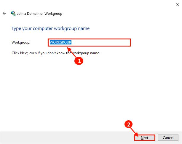 Immettere il nome del gruppo di lavoro