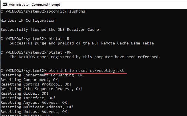 Cmd Netsh Int IP Riavvio