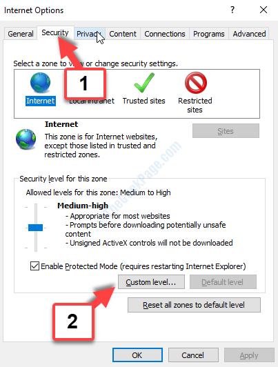 Livello di protezione delle opzioni Internet personalizzate