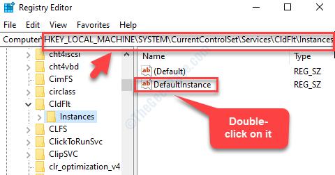 Editor del registro di sistema Accedere alle istanze del percorso Istanza predefinita Fare doppio clic