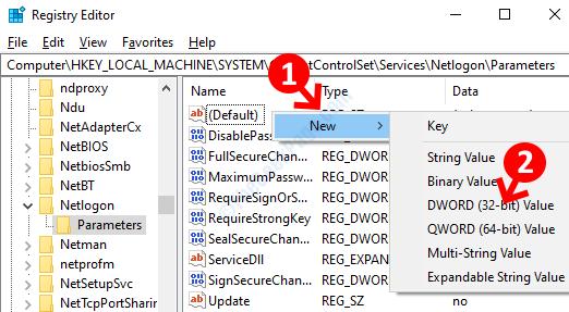 Registra Area vuota sul lato destro Fare clic con il pulsante destro del mouse su Nuovo valore Dword (32 bit)