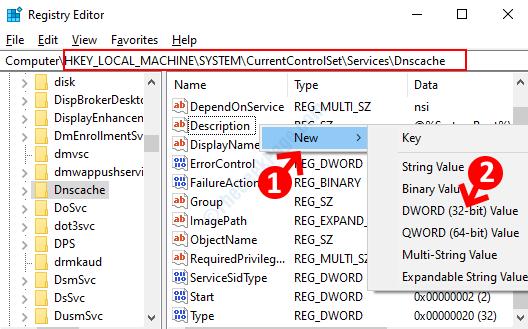 Editor del registro di sistema Vai al percorso Lato destro Fare clic con il pulsante destro del mouse su Nuovo valore Dword (32 bit)