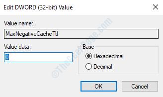 Maxnegativecachettl Modifica dati valore valore Dword 0