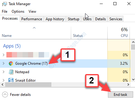 Scheda Processi di Task Manager Google Chrome Termina attività
