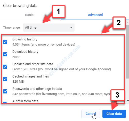 Impostazioni Cancella dati di navigazione Imposta intervallo di tempo Seleziona tutte le caselle Cancella dati