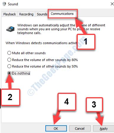Scheda Comunicazioni audio Non fare nulla Applica Ok
