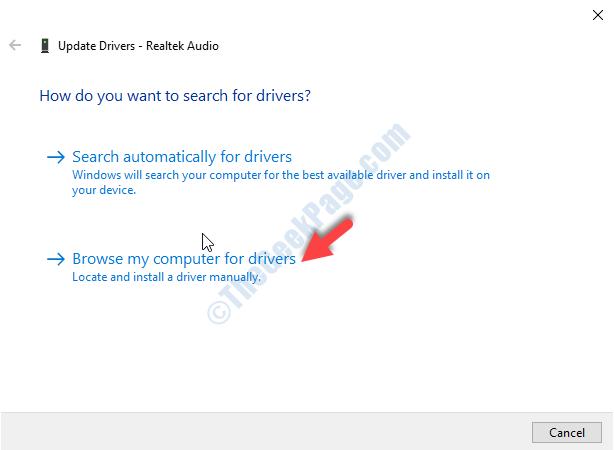 Finestra Aggiorna driver Trova i driver sul mio computer