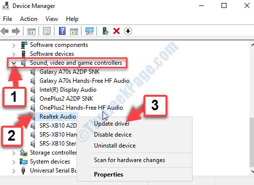 Gestione dispositivi Controller audio, video e giochi Realtek Audio Fare clic con il pulsante destro del mouse su Aggiorna driver