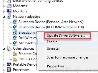Aggiorna il driver Ethernet