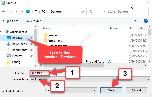 Salva come posizione sul desktop Nome file App.bat Salva come tipo Tutti i file