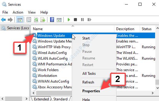 Servizi Nome Colonna Windows Update Fare clic con il pulsante destro del mouse su Proprietà