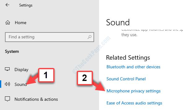 Impostazioni relative all'audio di sistema Impostazioni della privacy del microfono