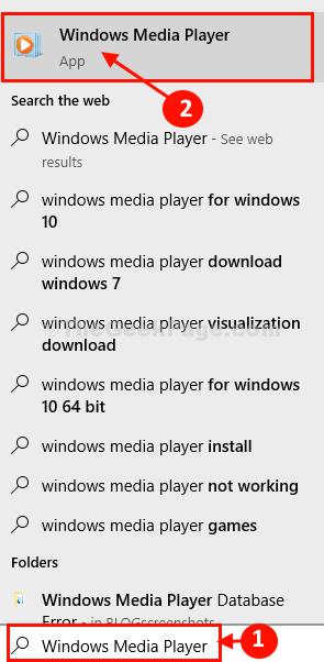 Ricerca di Windows Media Player