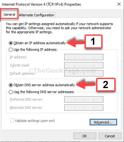Generale Selezionare Ottieni automaticamente un indirizzo IP Selezionare Ottieni automaticamente indirizzi server DNS