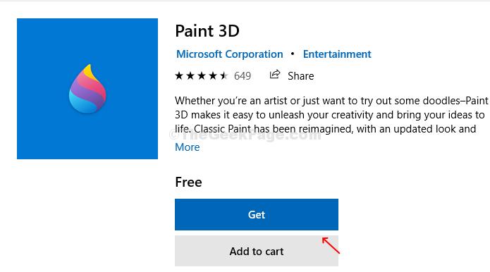 Casella di ricerca Paint 3d di Microsoft Store Ottieni