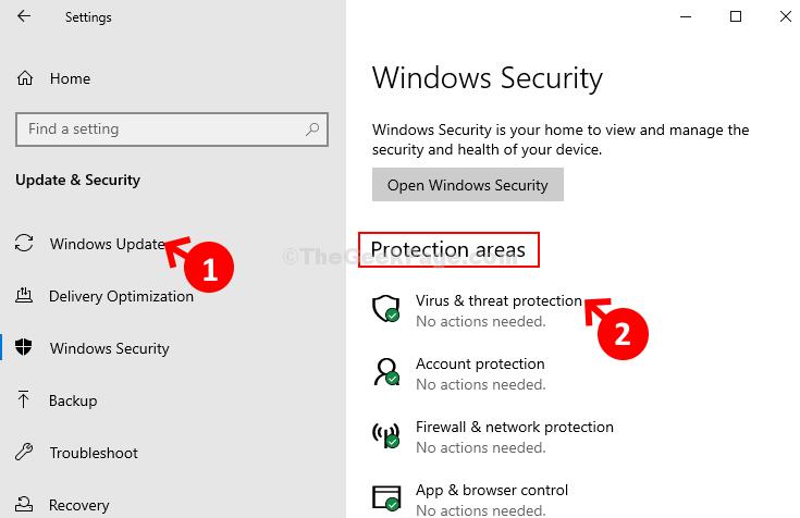 Aree di protezione della sicurezza di Windows Protezione da virus e minacce
