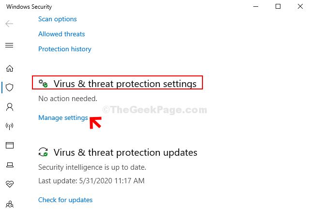 Impostazioni di protezione da virus e minacce Gestisci le impostazioni