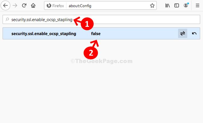 Casella di ricerca Security.ssl.enable Ocsp Stapling Fare doppio clic su False result