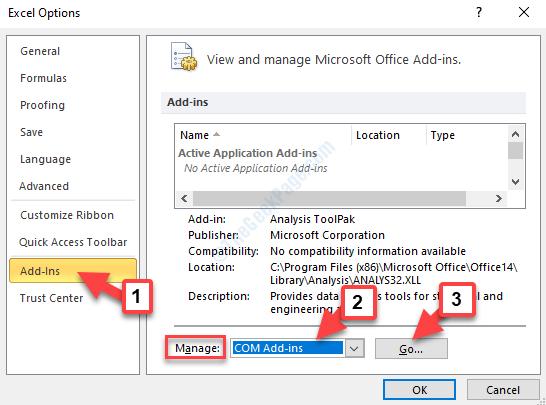 Opzioni di Excel Componenti aggiuntivi Gestisci componenti aggiuntivi Com Go