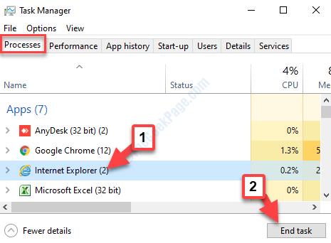 Task Manager elabora l'attività finale di Internet Explorer