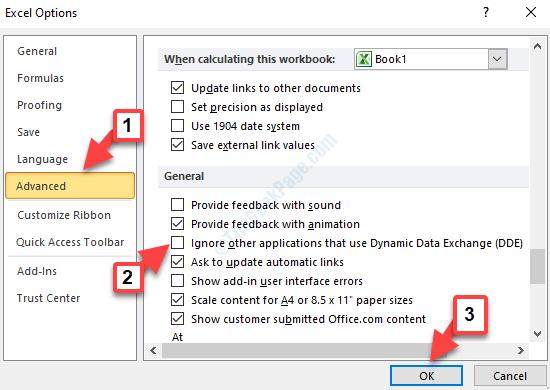 Opzioni di Excel Avanzate Generali Ignora altre applicazioni che utilizzano lo scambio dinamico di dati (dde) Deseleziona