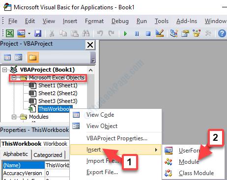 Barra dei progetti dell'editor Vba Oggetti di Microsoft Excel Questa cartella di lavoro Fare clic con il pulsante destro del mouse su Inserisci modulo