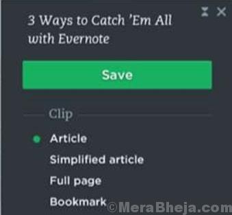Estensione minima Evernote Edge