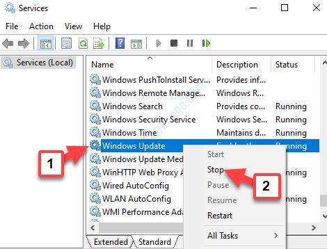 Servizi di Windows Update Fare clic con il pulsante destro del mouse su Arresta