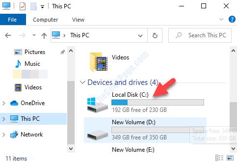 File Explorer Questa unità C sul lato destro del PC
