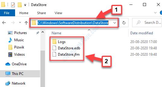 Vai al percorso dell'archivio dati Elimina tutti i file