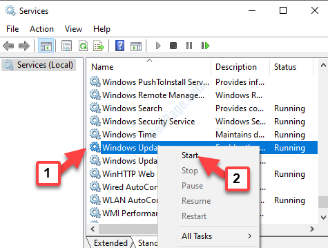 Servizi di Windows Update Fare clic con il pulsante destro del mouse su Start
