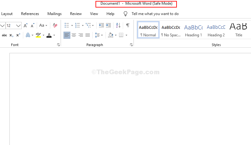 Modalità provvisoria di Microsoft Word