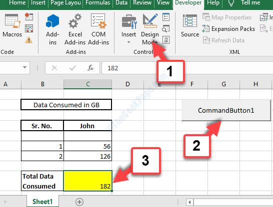 Pulsante di comando della modalità Layout foglio Excel 1 Completamento automatico Totale