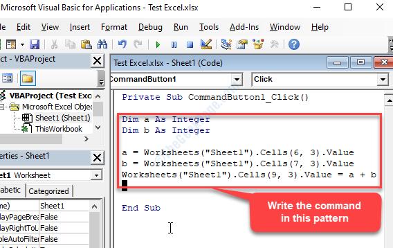 Immettere il comando del tipo di finestra di Microsoft Visual Basic, Applications Edition