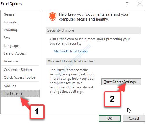 Opzioni di Excel Centro protezione Impostazioni Centro protezione