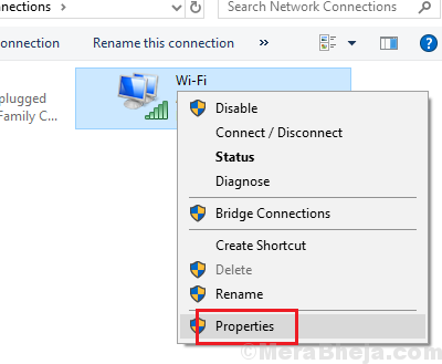 Seleziona Proprietà Wi-Fi