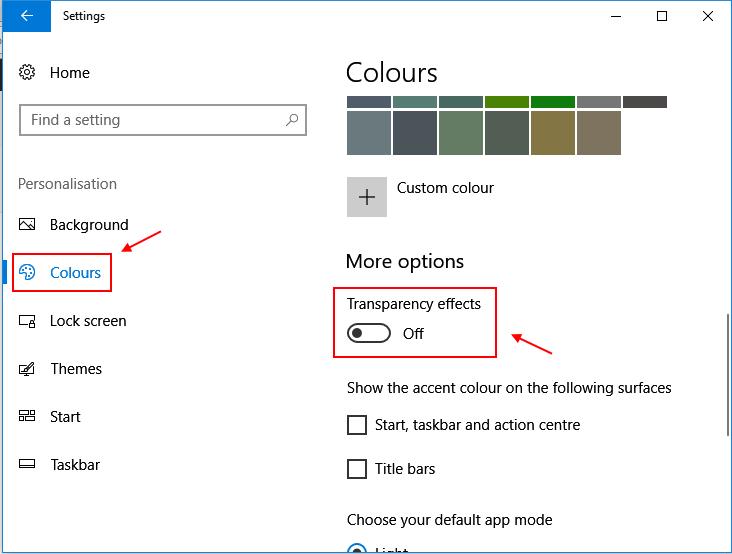 Effetti di trasparenza di Windows 10