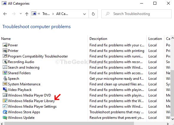 Scorri verso il basso, fai clic su Libreria di Windows Media Player