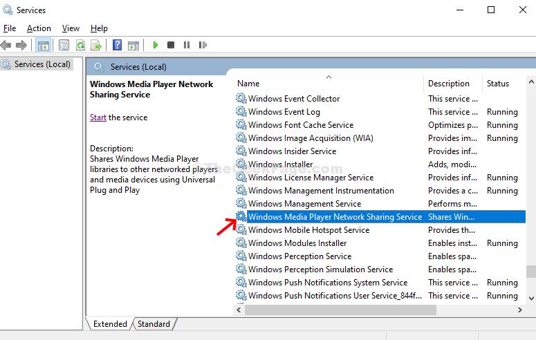 Servizi Windows Media Player Servizi di condivisione in rete