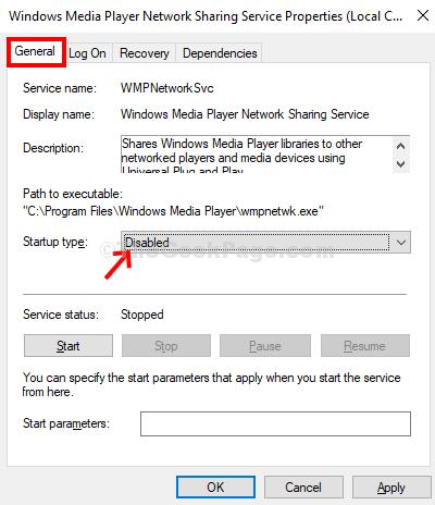 Tipo di avvio dei servizi di condivisione in rete di Windows Media Player Disabilitato Applica OK