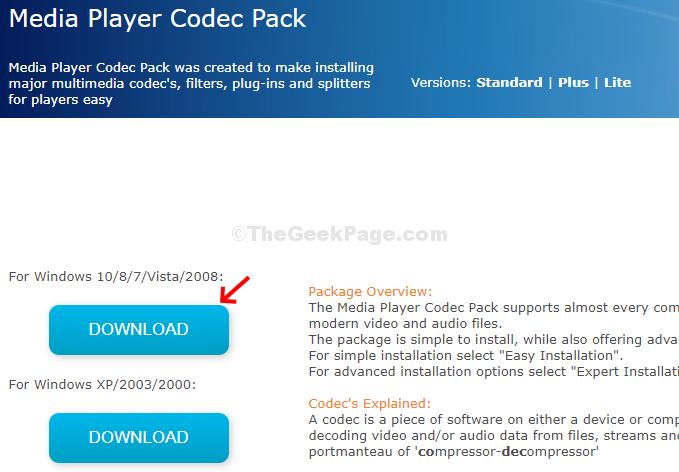 Scarica Media Player Codec Pack