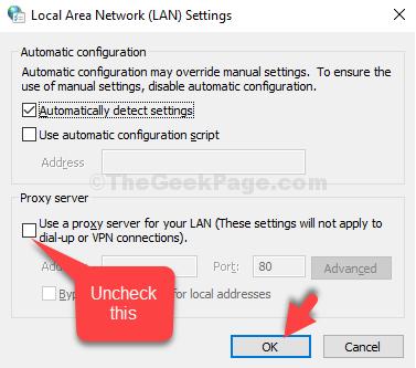 Impostazioni LAN Server proxy Usa un server proxy per la tua LAN Deseleziona OK
