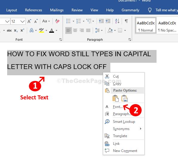 Word Seleziona testo Fare clic con il pulsante destro del mouse su Carattere