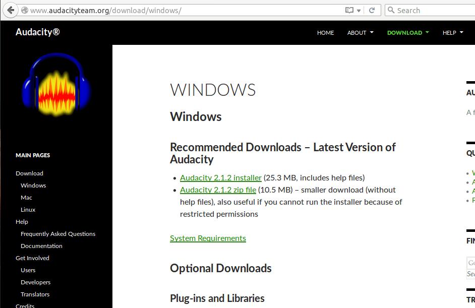 Pagina di download di Audacity
